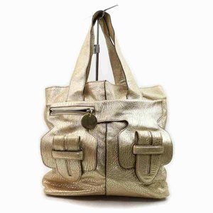 Auth Chloe Tote Bag Gold Leather #6442C90